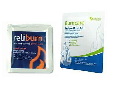 Burns Relief Gel Dressing 10cm x10cm First Aid Cooling Great for Sunburn *OFFER*