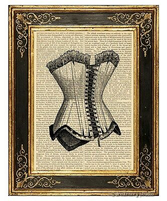 Corset #1 Art Print on Vintage Book Page Home Wall Hanging Decor Gifts Lingerie