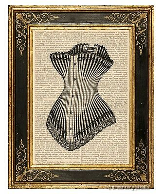 Corset #2 Art Print on Vintage Book Page Home Wall Hanging Decor Gifts Lingerie