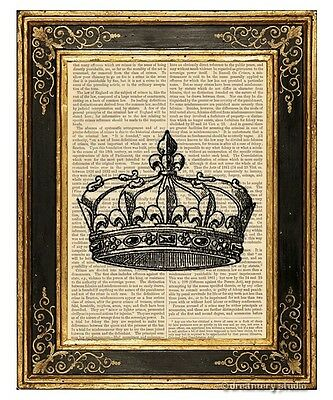 Crown #2 Art Print on Vintage Book Page Royal Home Nursery Hanging Decor Gifts
