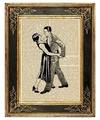 Tango Dancers Art Print on Antique Book Page Vintage Illustration Lovers Dance