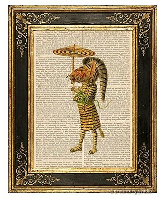 Zebra Man Art Print on Antique Book Page Vintage Illustration Mardi Gras Costume
