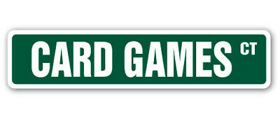 CARD GAMES Street Sign poker bridge canasta pinochle game gift lover player 21