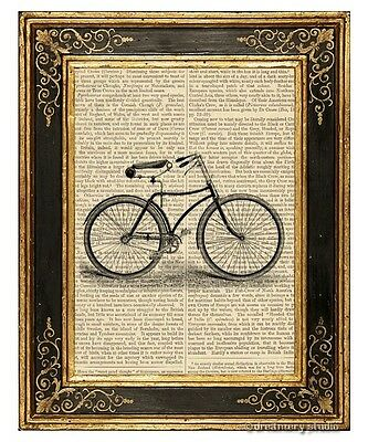 Bicycle #1 Art Print on Vintage Book Page Cycle Office Home Wall Hanging Decor