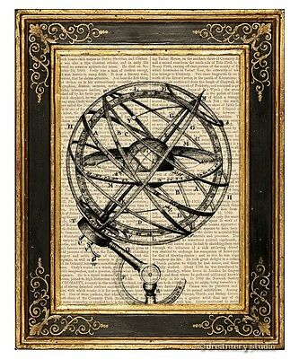Armillary Sphere #2 Art Print on Antique Book Page Vintage Illustration Globe