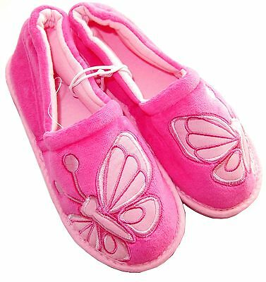 Girls New Pink Slippers Butterfly Motive Hard Soles UK Small 4 - UK Large 2
