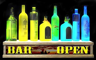 "24"" Lighted shot glass / liquor bottle shelf display WESTERN SUNSET ""BAR OPEN"""