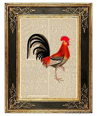 Rooster #2 Art Print on Vintage Book Page Home Kitchen Hanging Decor Gifts