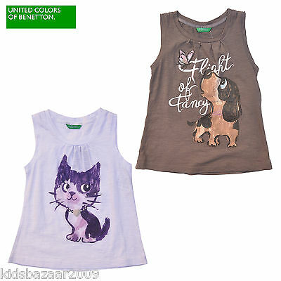 Benetton Girls Animal Front Sequin Detail Cotton Tank/Top White/Grey Size 9M-5Y