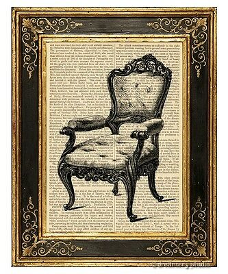 Armchair #1 Art Print on Antique Book Page Vintage Illustration Chair Furniture