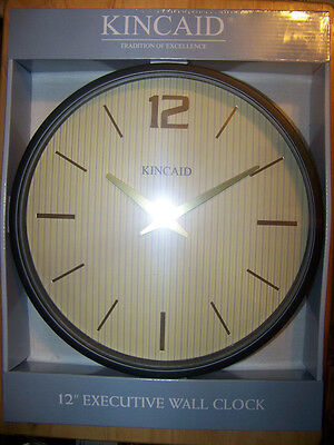 "Kincaid 12"" Executive Wall Clock w/ Gold Embossed Digits & Hands"