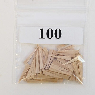 New Dental Disposable Straight Contoured Wood Wedges Natural 100 Pk Large Size