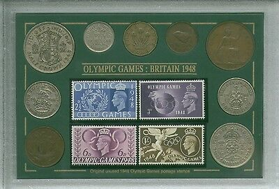 The London Olympic Games Vintage GB British Coin & Stamp Collector Gift Set 1948