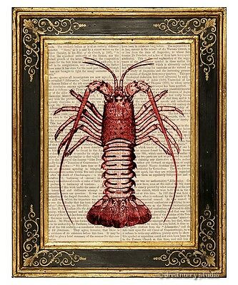 Red Crawfish Art Print on Antique Book Page Vintage Illustration Crayfish