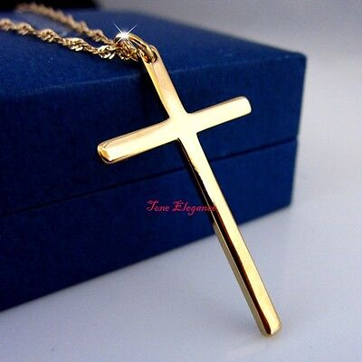 18k yellow gold filled plain cross solid womens mens necklace