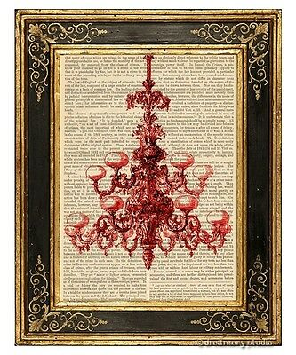 Red Chandelier Art Print on Antique Book Page Vintage Illustration Fixture