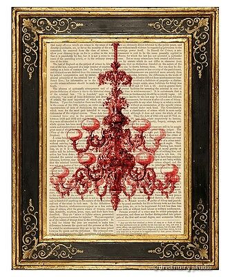 Red Chandelier Art Print on Vintage Book Page Home Office Hanging Decor Gifts