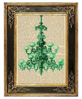 Green Chandelier Art Print on Vintage Book Page Home Hanging Decor Gifts