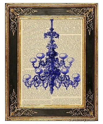 Blue Chandelier Art Print on Antique Book Page Vintage Illustration Fixture
