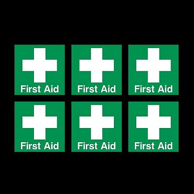 First Aid 50x50mm - x6 Square Stickers