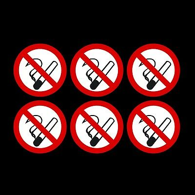 75mm Circular Pack of 6 No Smoking Self Adhesive Stickers  - Free 1st Class Post