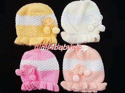 Super Soft Warm Hand Knitted New Born Baby Girl Hat Pom 0-3 Month 4 Colours