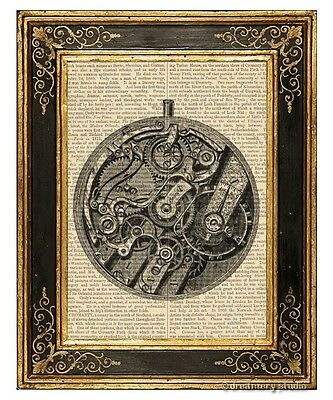 Pocket Watch Movement Art Print on Vintage Book Page Time Home Office Decor Gift