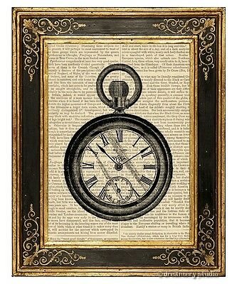Pocket Watch Art Print on Antique Book Page Vintage Illustration Timepiece Time