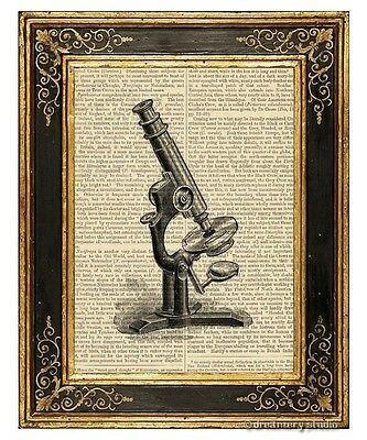 Microscope 1 Art Print on Antique Book Page Vintage Illustration Lab Equipment
