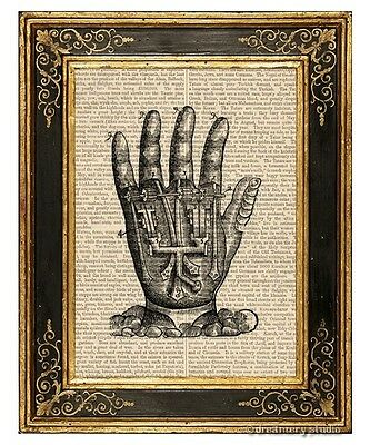 Mechanical Hand Art Print on Vintage Book Page Home Office Hanging Decor Gifts