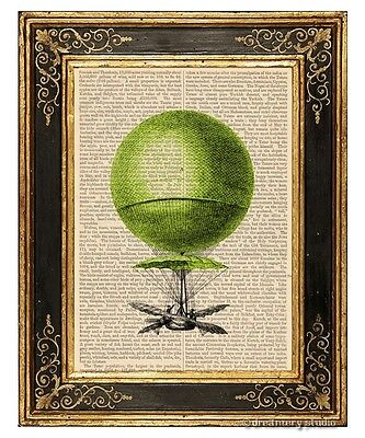 Green Hot Air Balloon Art Print on Vintage Book Page Nursery Home Hanging Decor