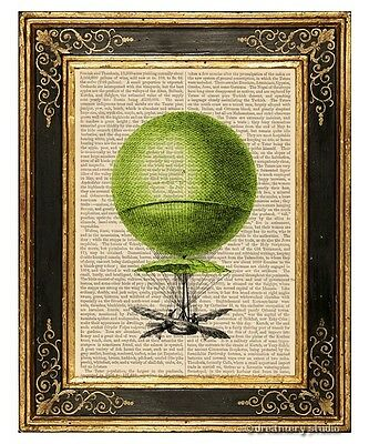 Lime Green Hot Air Balloon Art Print on Antique Book Page Vintage Illustration