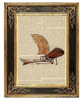 Da Vinci's Flying Machine Art Print on Antique Book Page Vintage Illustration