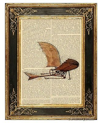 Da Vinci's Flying Machine Art Print on Vintage Book Page Office Home Decor Gifts