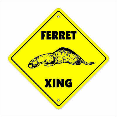 "Ferret Crossing Sign Zone Xing 12"" animals mammal kid pet child boy girl animal"