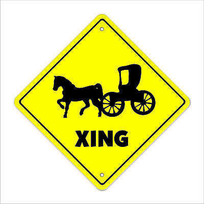 HORSE AND CARRIAGE CROSSING Sign novelty gift gag funny joke riding pony rides