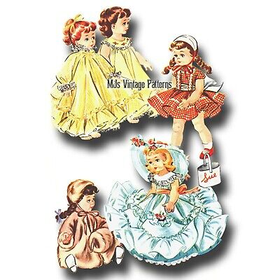 "Vtg 1950s Doll Clothes Dress, Coat, Hat, Nightgown Pattern ~ 16"" Terri Lee"