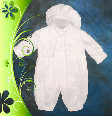 Satin Communion Christening Romper Suit Gown Hat Outfit Size 000-2 ST007
