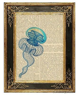 Jellyfish Art Print on Vintage Book Page Leptomedusae #3 Home Office Decor Gifts
