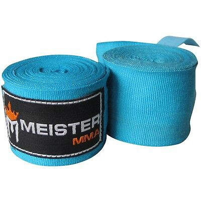 """MEISTER TURQUOISE 180"""" SEMI-ELASTIC HAND WRAPS - MMA Mexican Boxing Adult Teal"""