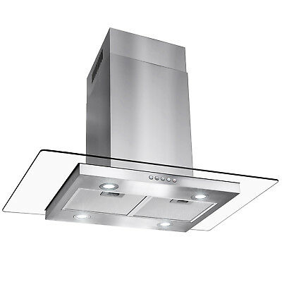 "GTC Europe 36"" Kitchen Glass Stainless Steel Island Range Hood Stove Vent"
