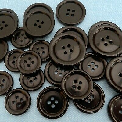 5 x black coat buttons 4 holes  34mm 28mm 25mm 23mm 20mm 15mm ........