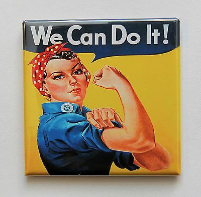 "ROSIE THE RIVETER - Square Button Pinback 2"" - WE CAN DO IT"