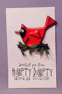 Red Cardinal Silly Bird Hand-Crafted Christmas Pin - Mint on Card