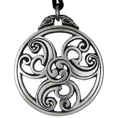 Celtic Knot Triscele 2 Necklace Triskelion Pewter Pendant Irish Jewelry