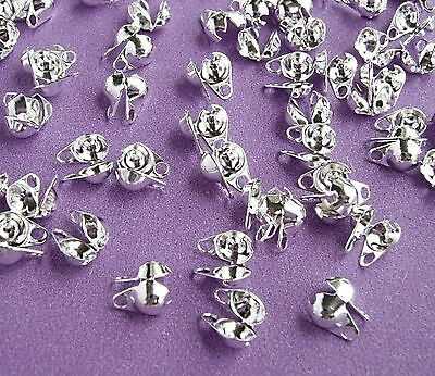 200 x NICKEL FREE SILVER TONE Calottes Clamshells Necklace/Bracelet Tips/Ends