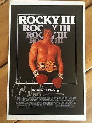 Carl Weathers ROCKY 3 Signed 11x17 Poster SEE PROOF - SALE