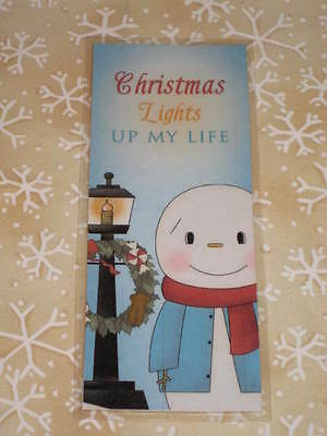 Primitive Christmas Winter Laminated Bookmark Snowman Light Up My Life Cl12-5