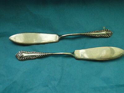 Pair Small Butter Knife Gadroon Pattern Sterling Birmingham 1966
