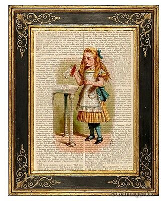 Alice in Wonderland Art Print on Antique Book Page Vintage Illust Drink Me Color